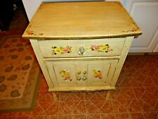 "vintage Painted Wood Cabinet with Drawer & 2 Door Storage Bottom 28""x21""x15"" NR"