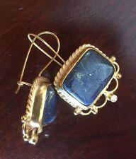 NEW Handmade Large Blue Lapis 22K Gold Over 925 Sterling Silver Earrings