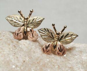 Super Cute! 10k Yellow & Rose Gold Diamond Cut Butterfly Earrings 1.06g