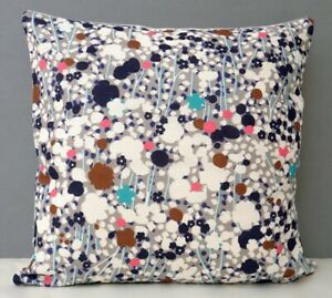 Imogen Heath Designer Cushion Cover Bright Abstract Floral Design Meadow Dusk