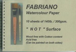 """A pad of 10 sheets of """" FABRIANO WATERCOLOUR PAPER """"  300gsm. - N O T Surface ."""