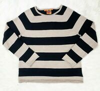 Tory Burch Tan and Black Striped Wool Alpcac Blend Pullover Sweater Small