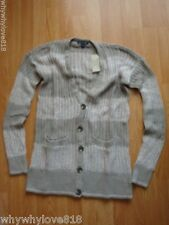 New American Eagle Open Ribbed Cardigan V-Neck Sweater  Brown S