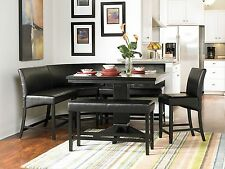 METRO - 6pcs Modern Square Black Counter Height Dining Room Table Set Furniture