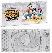 Disney Dollar notes - Mickey and Friends 5gr silver coin note Niue 20 cents 2017