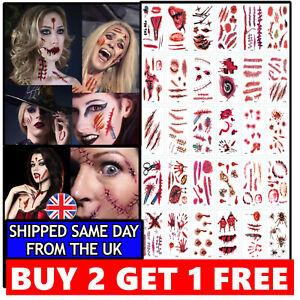 Zombie Scars Tattoos Fake Blood Scab Scar Wound Halloween Costume Make-Up Kit UK