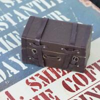 1pc 1:12 Doll House Suitcase Luggage Box Miniature Leather Wood Case Toys Brown