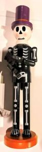 "Wooden Halloween Skeleton Nutcracker NEW WITH TAG 14"" x 3.5"""