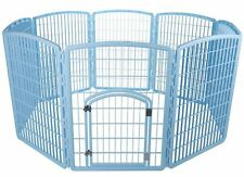 "NEW Plastic Puppy Dog Pet Play Pen Kennel Cage Gate Fence Blue 63""x63""x34"""