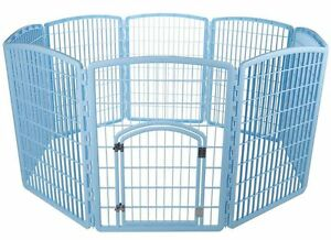 """NEW Plastic Puppy Dog Pet Play Pen Kennel Cage Gate Fence Blue 63""""x63""""x34"""""""