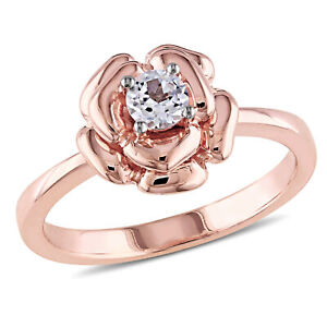 Amour Rose Plated Silver Created White Sapphire Flower Ring