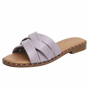 DREAM PAIRS WOMENS SLIP ON STUDDED FLAT SLIDERS SLIPPER SPARKLY SANDALS SHOES US