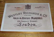 Westley Richards Gunmakers  Gun Case Label repo Accessories Type 7 *