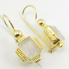 """Moonstone Drop Dangle Earrings 1.1"""" Gold Flashed 925 Sterling Silver Rainbow"""
