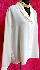 SUSAN BRISTOL Ivory Polyester Blouse Luxurious Silk Collar Sz 18 Long Sleeve