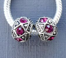 2 pcs Silver tone Crystal Pink Charms Large hole Beads Fit European Bracelet C37