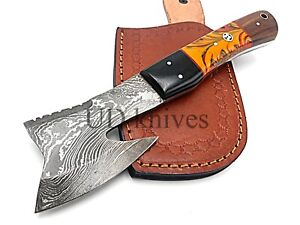 8.5 INCH UD CUSTOM DAMASCUS STEEL FULL TANG HUNTER MINI AXE KNIFE B1-1079