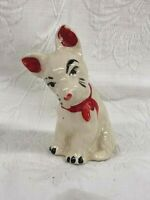 Vintage Scotty Dog Figurine Cold Red Paint on Ears, Nose & Bow Tie/Collar