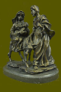 Handcrafted bronze sculpture SALE Ev Biblical Egypt Into Flight Signed Original