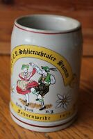 Stoneware Pottery Beer stein Vintage Mug .5L Schlierachtler Fahnenweihe NY 1978