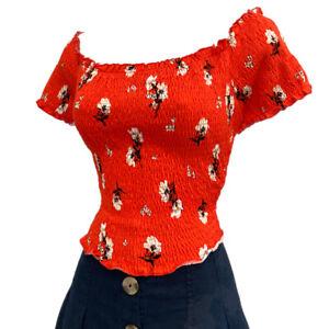 Blouse 16/18 BNWT New Look Bardot Boho Milkmaid Cotton Stretch Orange Ditsy Cute