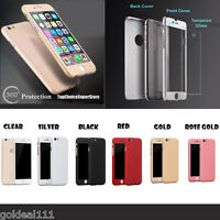 360° Full Hybrid Tempered Glass+Acrylic Case Cover For iPhone 5 5S 6 6S 7 8 Plus