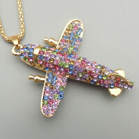 Betsey Johnson Mixed Color Crystal Plane Airplane Pendant Long Necklace