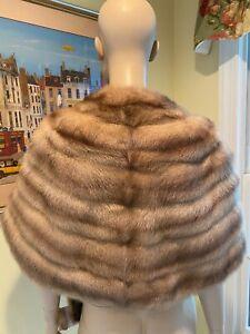 Natural Ashy Blonde Female Mink FUR STOLE EVENING WRAP SHOULDER CAPELET SHRUG