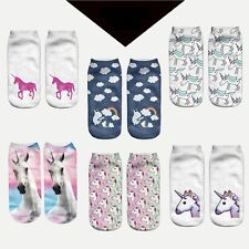 6 Pack Women 3D Unicorn Print Socks Men Unisex Low Cut Funny Ankle Cotton Socks
