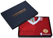 Jimmy Greenhoff SIGNED Manchester United Shirt Autograph Gift Box New AFTAL COA