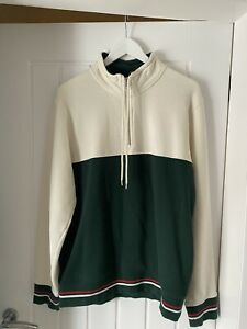 Stussy Sweatshirt / Jumper Large Quarter Zip Immaculate Condition White / Green