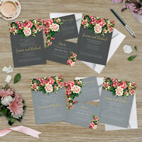 Personalised Floral Wedding Invitation Set | Day/Evening Invite, RSVP & Info
