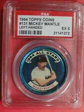 1964 Topps Coin #131 left-handed Mickey Mantle Yankees Psaex 5