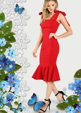 Women Red Sexy & Elegant Fishtail Dress with Tied Straps