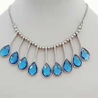Fabulous Sky Blue Faceted Glass Pear Shaped Vintage Style Fan Bib Necklace
