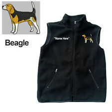 Beagle Dog Fleece Vest with Zippers Personal Name Stitched Monogrammed
