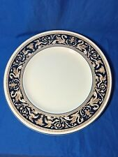 Wedgwood China cobalt blue Florentine pattern set of 2 dinner plates