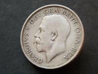 1913 Solid Sterling Silver Vintage Kings Shilling George V United Kingdom C027