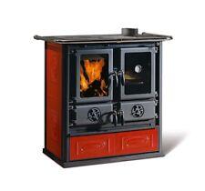 "Cucina stufa a legna NORDICA ""Rosetta"" 7,2 kW colore liberty bordeaux"