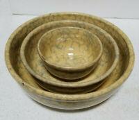 Antique Spongeware set of 3 nesting bowls - blue and yellow