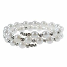 Ladies Gift Pearl Bracelet with Crystal Rhinestone White 2 Strand L7X5