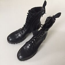 BLACK LEATHER STEAMPUNK BOOTS CHUNKY PLATFORM SOLE LACES DOUBLE ZIP 39 BNWOT
