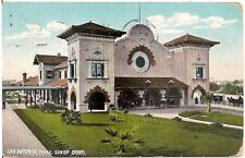Sunset Railroad Depot in San Antonio TX Postcardb 1909