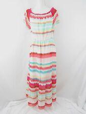 Belle Sky Maxi Dress Striped Ruffle Flutter Sleeve Pastel Size L New MSRP $70