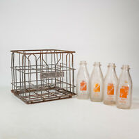 Vintage 1964 Hood Milk Crate Steel W/ 4 Bottles St. Petersburg Florida Antique
