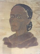 Rare, Unique African American Female Marquetry Wall Hanging
