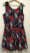 FOREVER21, Women Sleeveless Purple and Red Floral A-Line Dress, V Back, Large