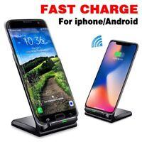 Qi chargeur rapide sans fil chargement en cuir Dock pour iPhone x 8 Samsung s8