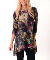 Long Top Size 8 Ladies Womens Tunic Abstract With Sidetail Hem