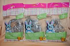 3 bags of Silver Metallic Tinsel Hair Easter Gift Basket Stuffer Party Supplies